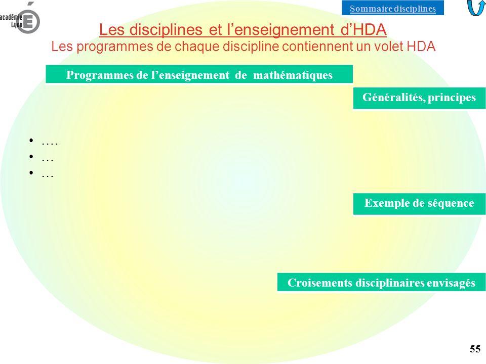 Les disciplines et lenseignement dHDA Les programmes de chaque discipline contiennent un volet HDA ….