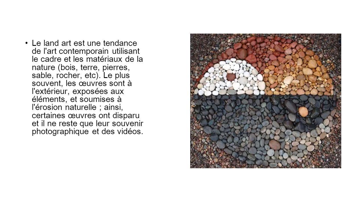 Le land art est une tendance de l'art contemporain utilisant le cadre et les matériaux de la nature (bois, terre, pierres, sable, rocher, etc). Le plu