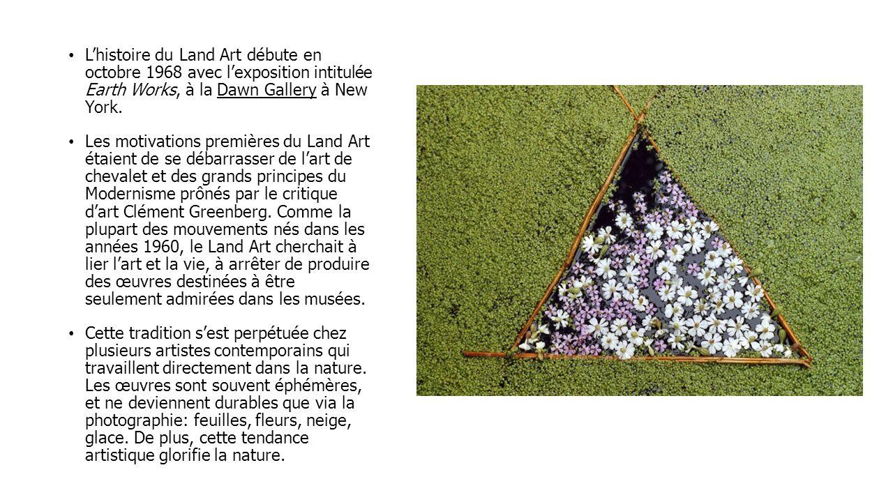 Lhistoire du Land Art débute en octobre 1968 avec lexposition intitulée Earth Works, à la Dawn Gallery à New York. Les motivations premières du Land A