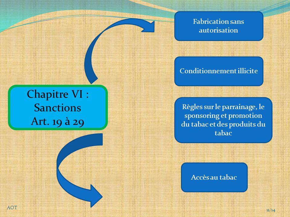 Chapitre VI : Sanctions Art.
