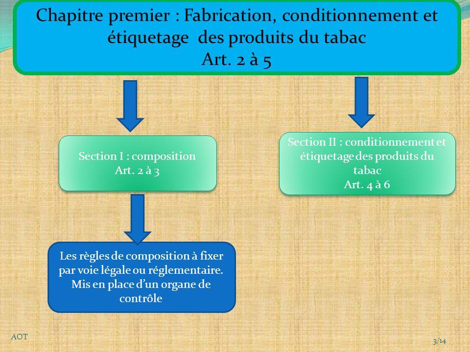 Chapitre premier : Fabrication, conditionnement et étiquetage des produits du tabac Art.
