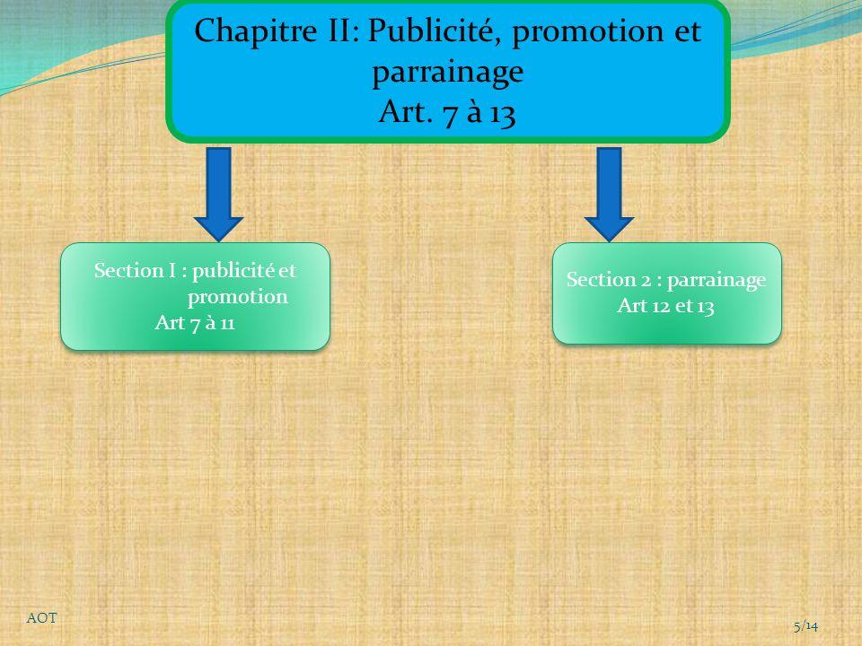 Chapitre II: Publicité, promotion et parrainage Art.