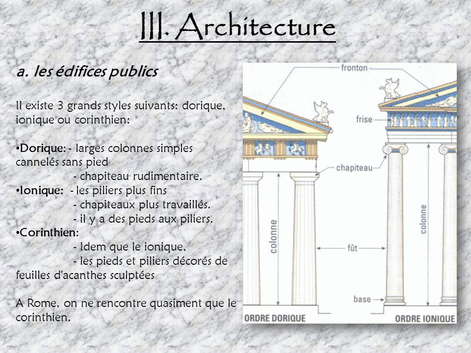 III.Architecture a. les édifices publics temples Style Corinthien Antonin le Pieux en l'an 150 ordonna la construction du temple de Bacchus.