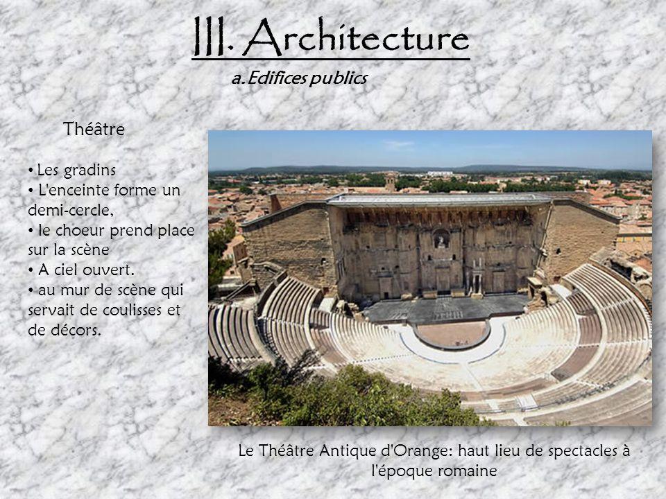 III. Architecture Il existe 3 grands styles suivants: dorique, ionique ou corinthien: Dorique: - larges colonnes simples cannelés sans pied - chapitea