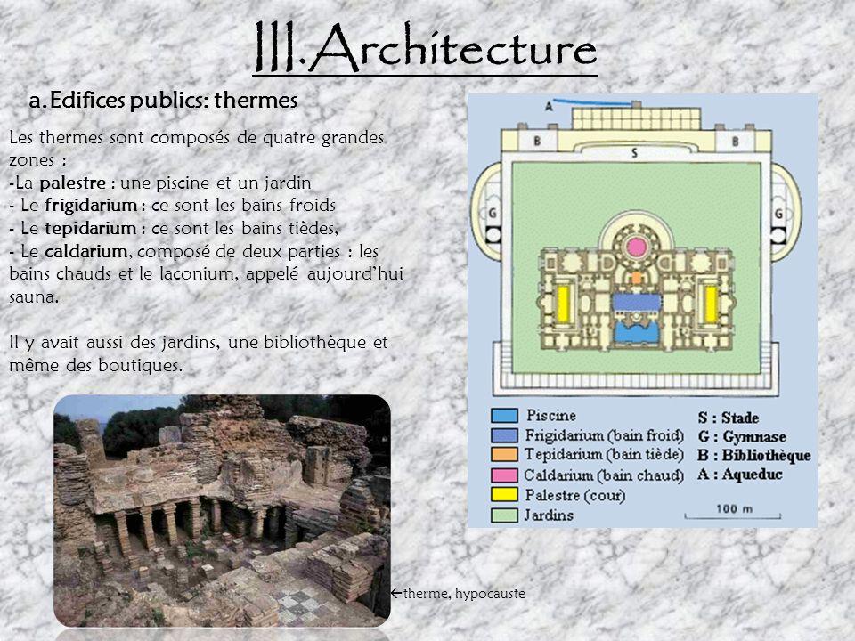 III. Architecture Le Théâtre Antique d'Orange: haut lieu de spectacles à l'époque romaine a.Edifices publics Théâtre Les gradins L'enceinte forme un d