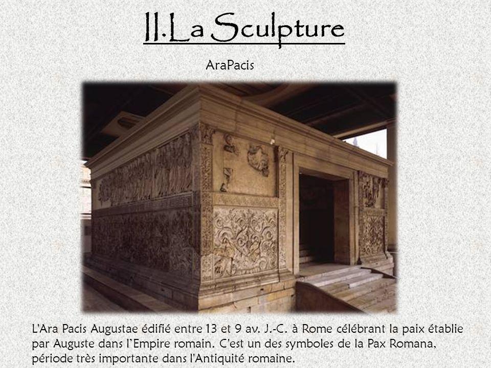 II.La Sculpture Colonne Trajane La colonne Trajane (dédiée en 113 après JC), en marbre à un diamètre de 3.80m et une hauteur de 33m et de 40m avec la base.