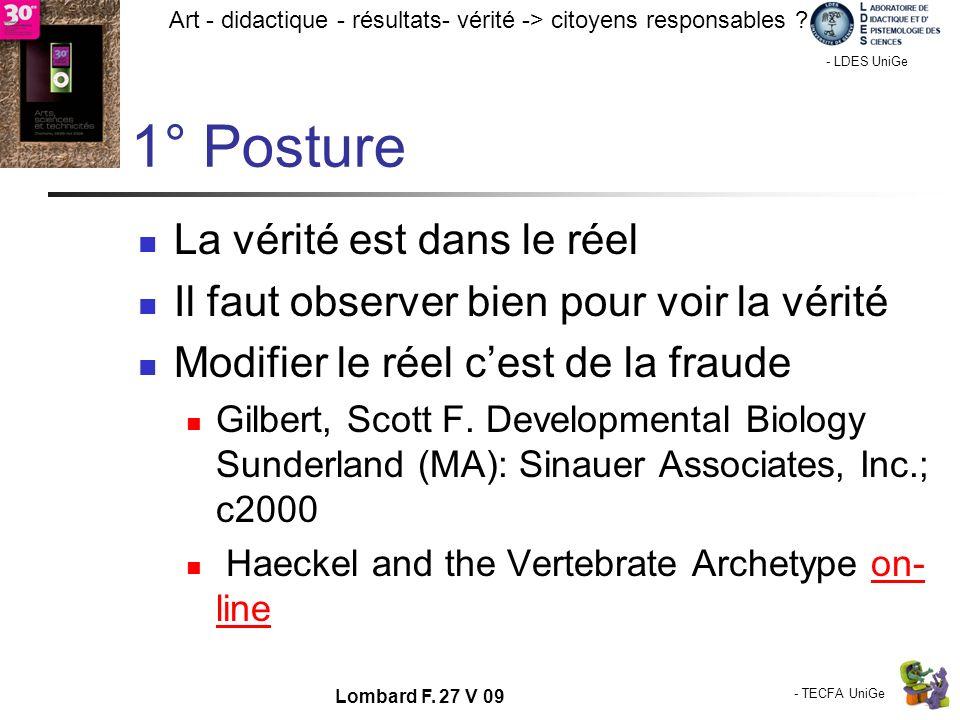 - TECFA UniGe Art - didactique - résultats- vérité -> citoyens responsables ? Chamonix - LDES UniGe Lombard F. 27 V 09 1° Posture La vérité est dans l