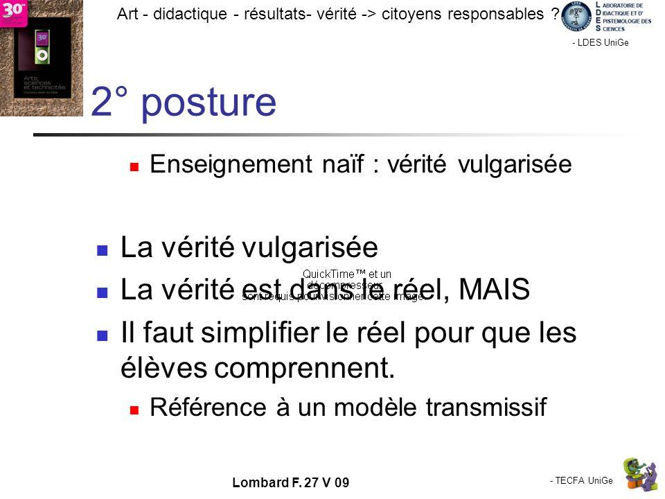 - TECFA UniGe Art - didactique - résultats- vérité -> citoyens responsables ? Chamonix - LDES UniGe Lombard F. 27 V 09 2° posture Enseignement naïf :