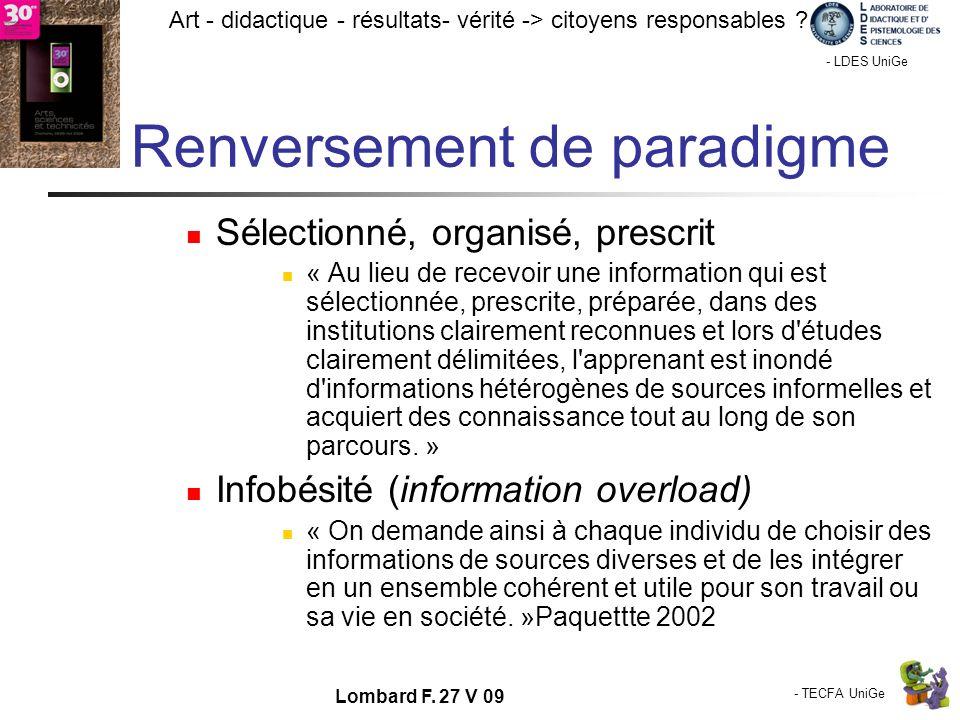 - TECFA UniGe Art - didactique - résultats- vérité -> citoyens responsables ? Chamonix - LDES UniGe Lombard F. 27 V 09 Renversement de paradigme Sélec