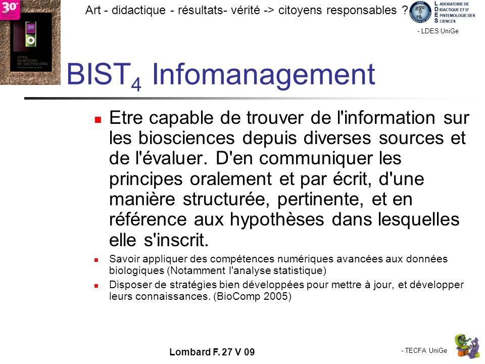 - TECFA UniGe Art - didactique - résultats- vérité -> citoyens responsables ? Chamonix - LDES UniGe Lombard F. 27 V 09 BIST 4 Infomanagement Etre capa