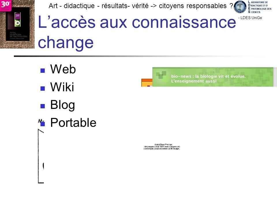 - TECFA UniGe Art - didactique - résultats- vérité -> citoyens responsables ? Chamonix - LDES UniGe Lombard F. 27 V 09 Laccès aux connaissance change