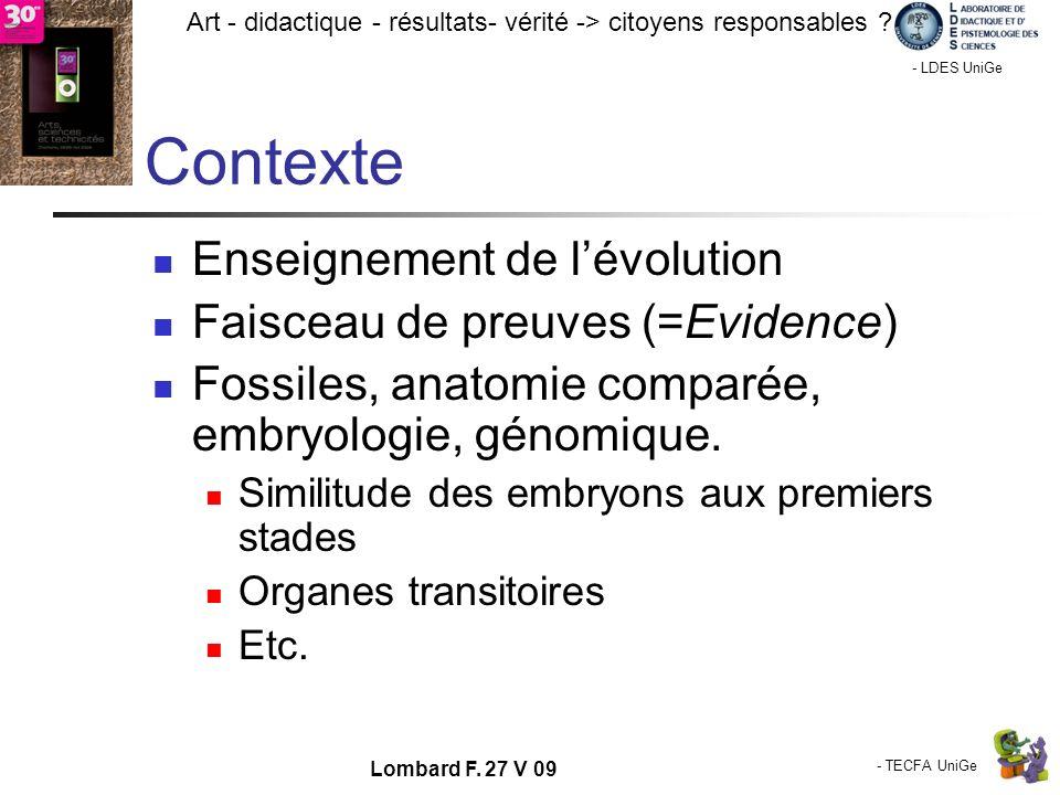 - TECFA UniGe Art - didactique - résultats- vérité -> citoyens responsables ? Chamonix - LDES UniGe Lombard F. 27 V 09 Contexte Enseignement de lévolu