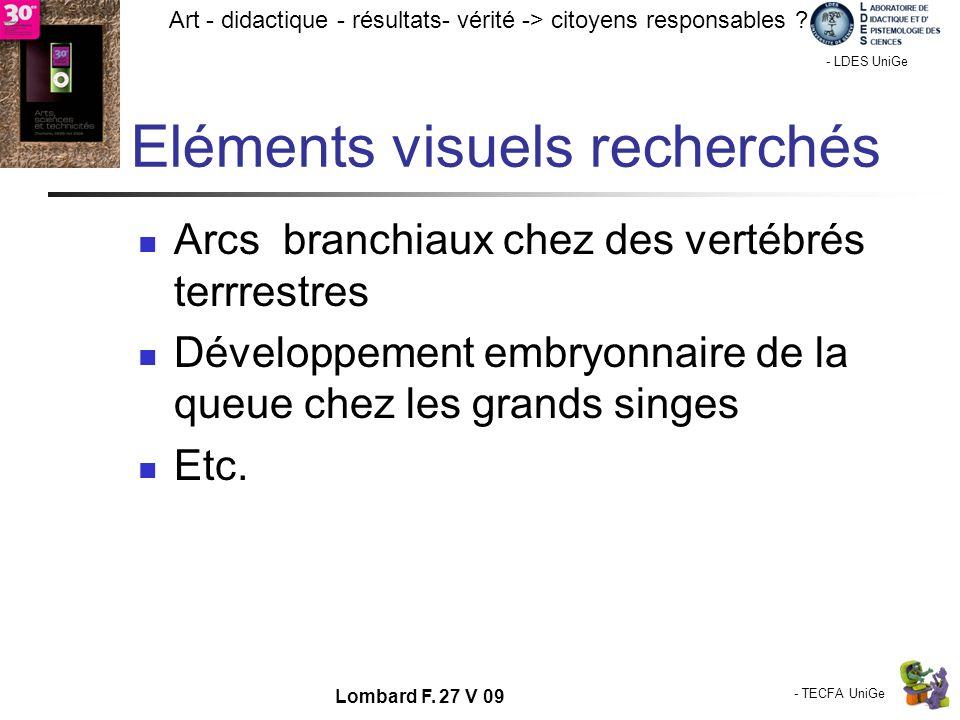 - TECFA UniGe Art - didactique - résultats- vérité -> citoyens responsables ? Chamonix - LDES UniGe Lombard F. 27 V 09 Eléments visuels recherchés Arc