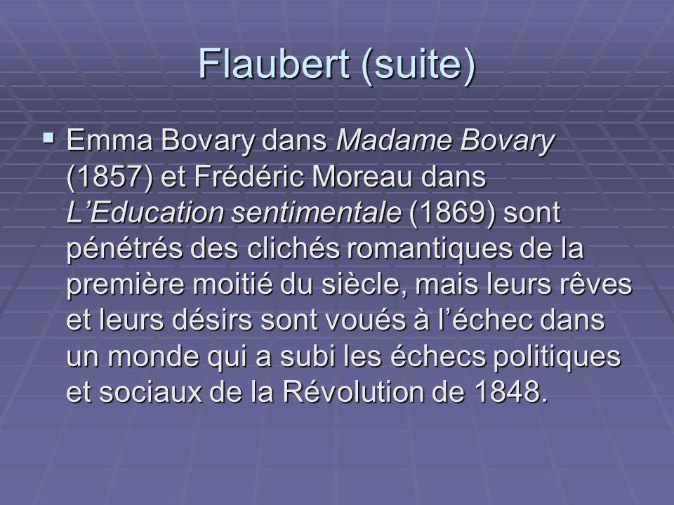 Flaubert (suite) Pour Flaubert, comme pour Baudelaire, la vocation de lartiste est de transmuer la réalité au moyen de lart: lart fournit un accès au domaine de la rêverie et de lidéal que la vie noffre plus.