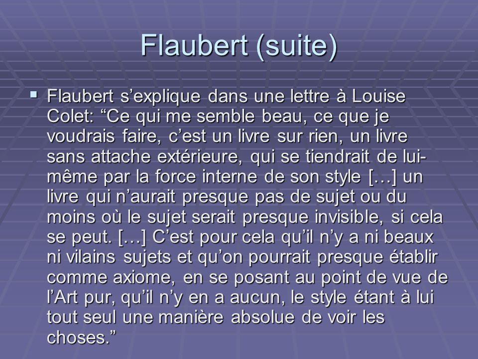 Flaubert (suite) A la différence de Balzacles intrusions du narrateurFlaubert croit que lécrivain ne doit pas se révéler dans son oeuvre.