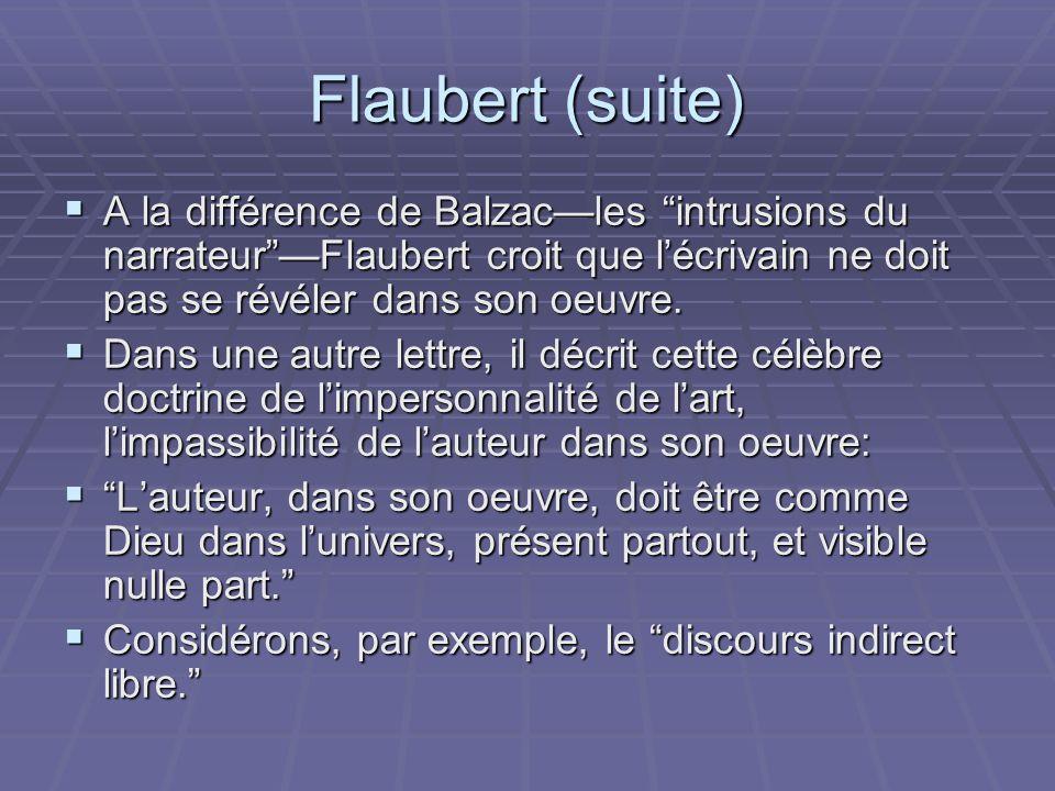 Flaubert (suite) A la différence de Balzacles intrusions du narrateurFlaubert croit que lécrivain ne doit pas se révéler dans son oeuvre. A la différe