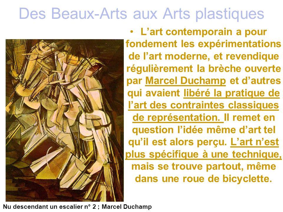 Des Beaux-Arts aux Arts plastiques Lart contemporain a pour fondement les expérimentations de lart moderne, et revendique régulièrement la brèche ouve