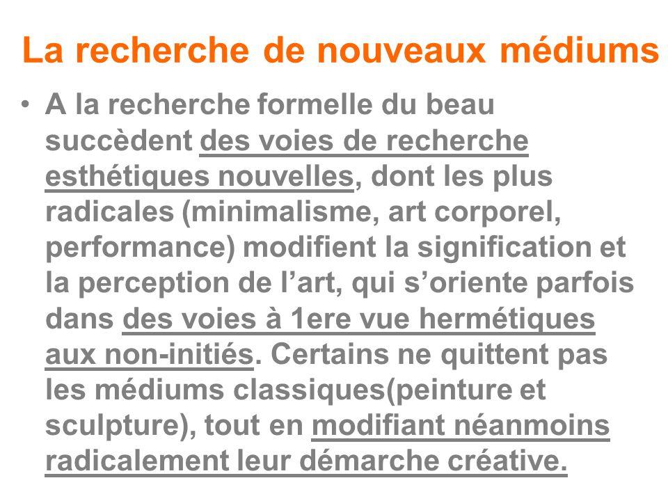 La recherche de nouveaux médiums A la recherche formelle du beau succèdent des voies de recherche esthétiques nouvelles, dont les plus radicales (mini