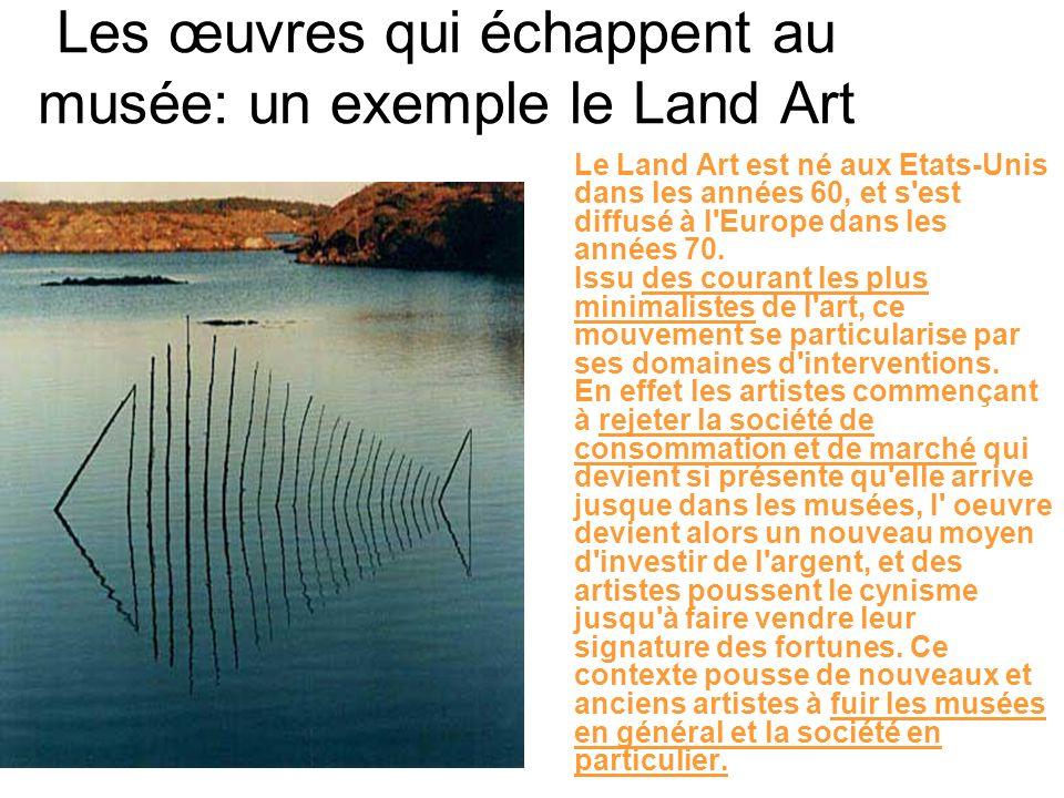Les œuvres qui échappent au musée: un exemple le Land Art Le Land Art est né aux Etats-Unis dans les années 60, et s'est diffusé à l'Europe dans les a