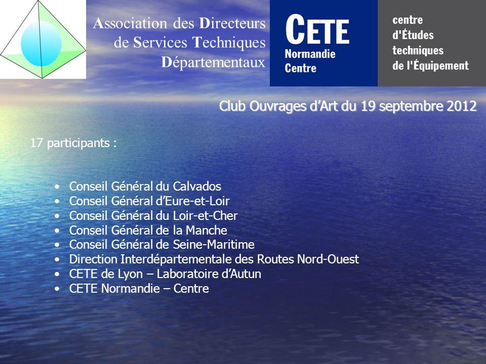 Association des Directeurs de Services Techniques Départementaux 17 participants : Conseil Général du Calvados Conseil Général dEure-et-Loir Conseil G