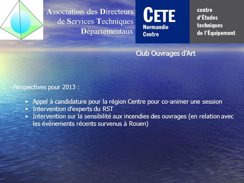Association des Directeurs de Services Techniques Départementaux Perspectives pour 2013 : Appel à candidature pour la région Centre pour co-animer une