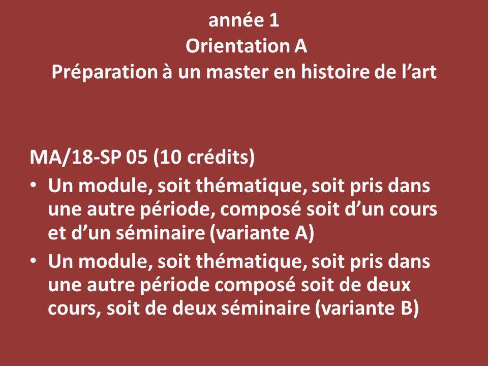 année 1 Orientation A Préparation à un master en histoire de lart MA/18-SP 05 (10 crédits) Un module, soit thématique, soit pris dans une autre période, composé soit dun cours et dun séminaire (variante A) Un module, soit thématique, soit pris dans une autre période composé soit de deux cours, soit de deux séminaire (variante B)