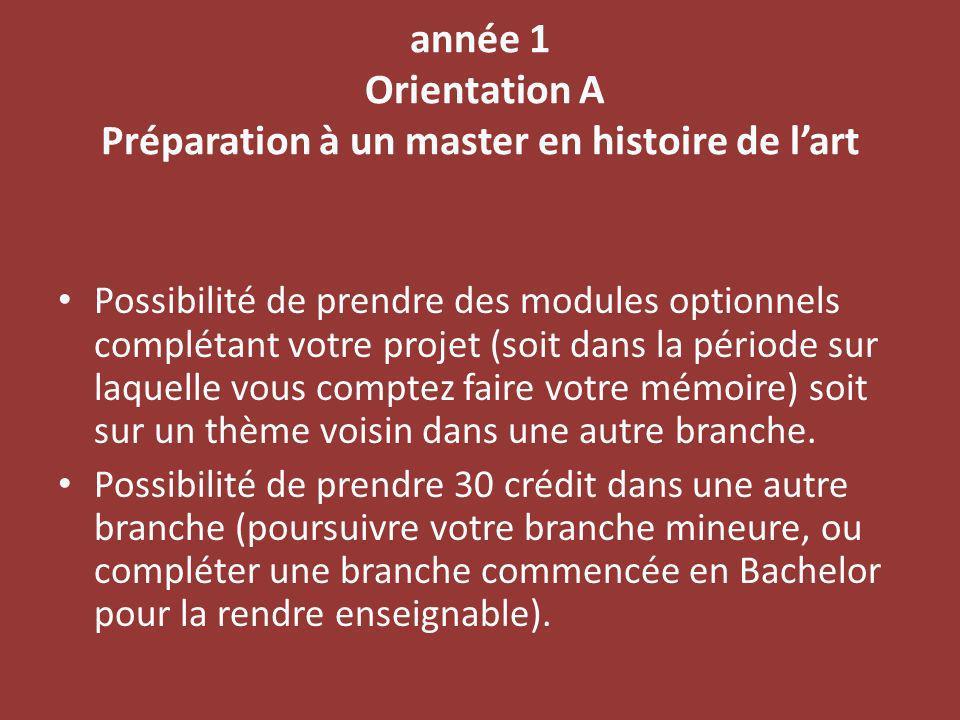 année 2 Orientation A Préparation à un master en histoire de lart Rédaction dun mémoire sur un sujet choisi en concertation avec un directeur.