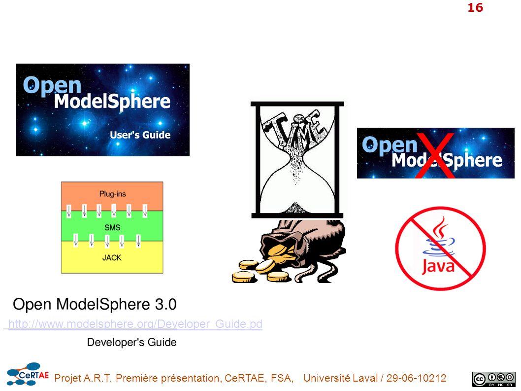 Projet A.R.T. Première présentation, CeRTAE, FSA, Université Laval / 29-06-10212 16 http://www.modelsphere.org/Developer Guide.pd X