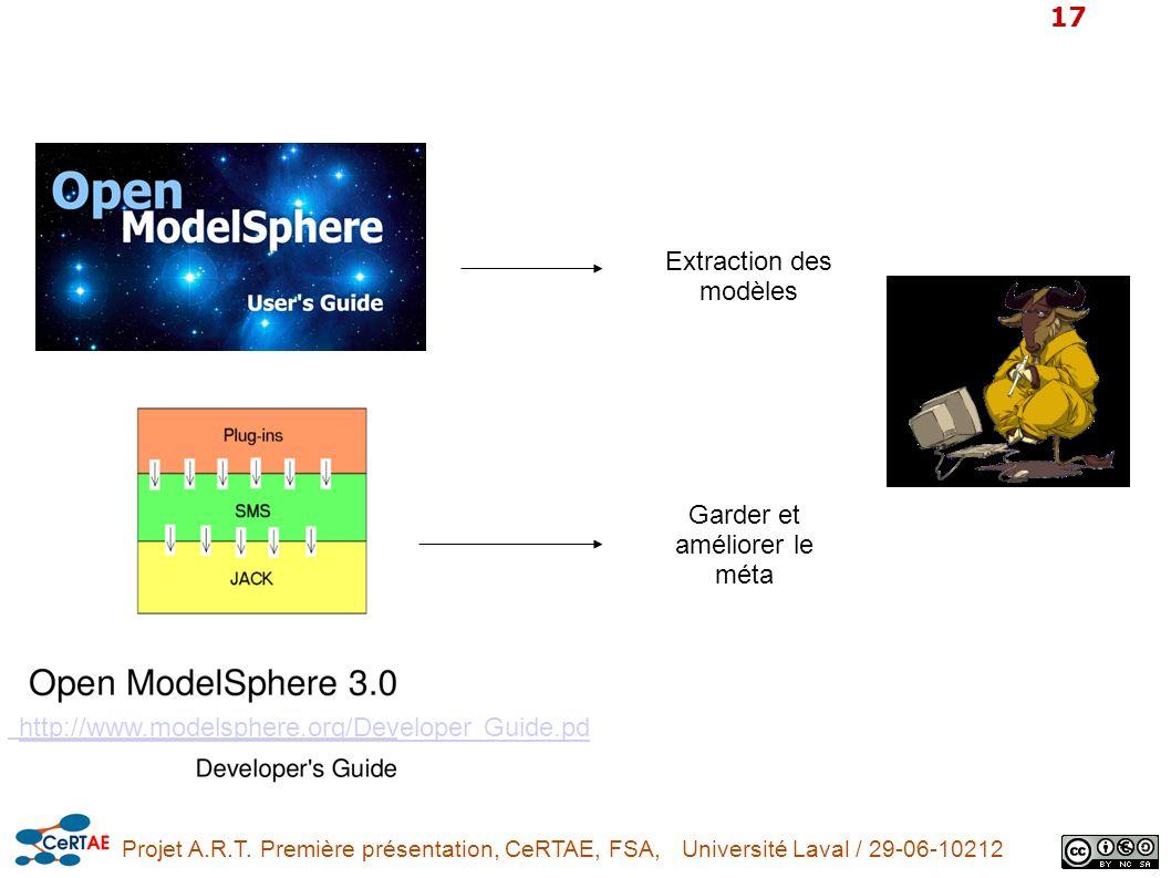 Projet A.R.T. Première présentation, CeRTAE, FSA, Université Laval / 29-06-10212 17 http://www.modelsphere.org/Developer Guide.pd Extraction des modèl