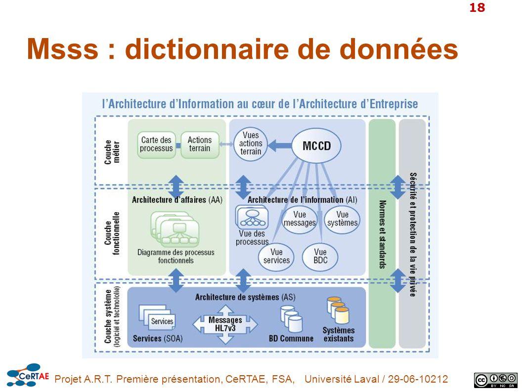 Projet A.R.T. Première présentation, CeRTAE, FSA, Université Laval / 29-06-10212 18 Msss : dictionnaire de données