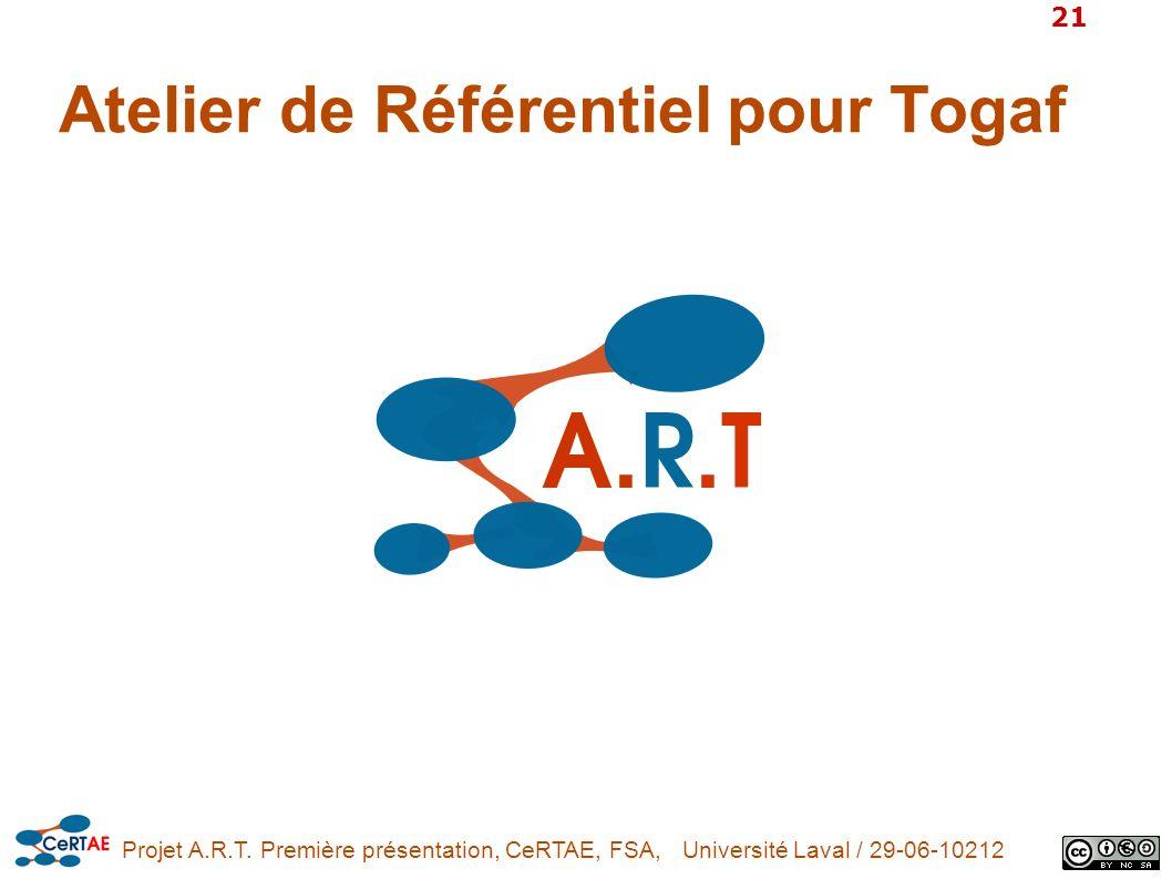 Projet A.R.T. Première présentation, CeRTAE, FSA, Université Laval / 29-06-10212 21 Atelier de Référentiel pour Togaf