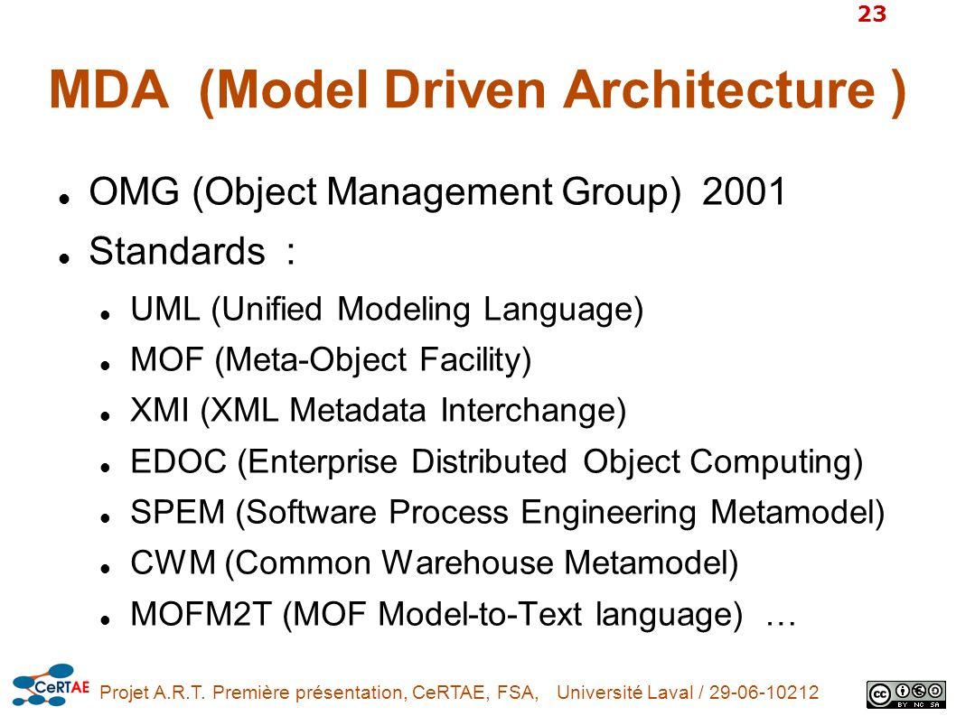 Projet A.R.T. Première présentation, CeRTAE, FSA, Université Laval / 29-06-10212 23 MDA (Model Driven Architecture ) OMG (Object Management Group) 200