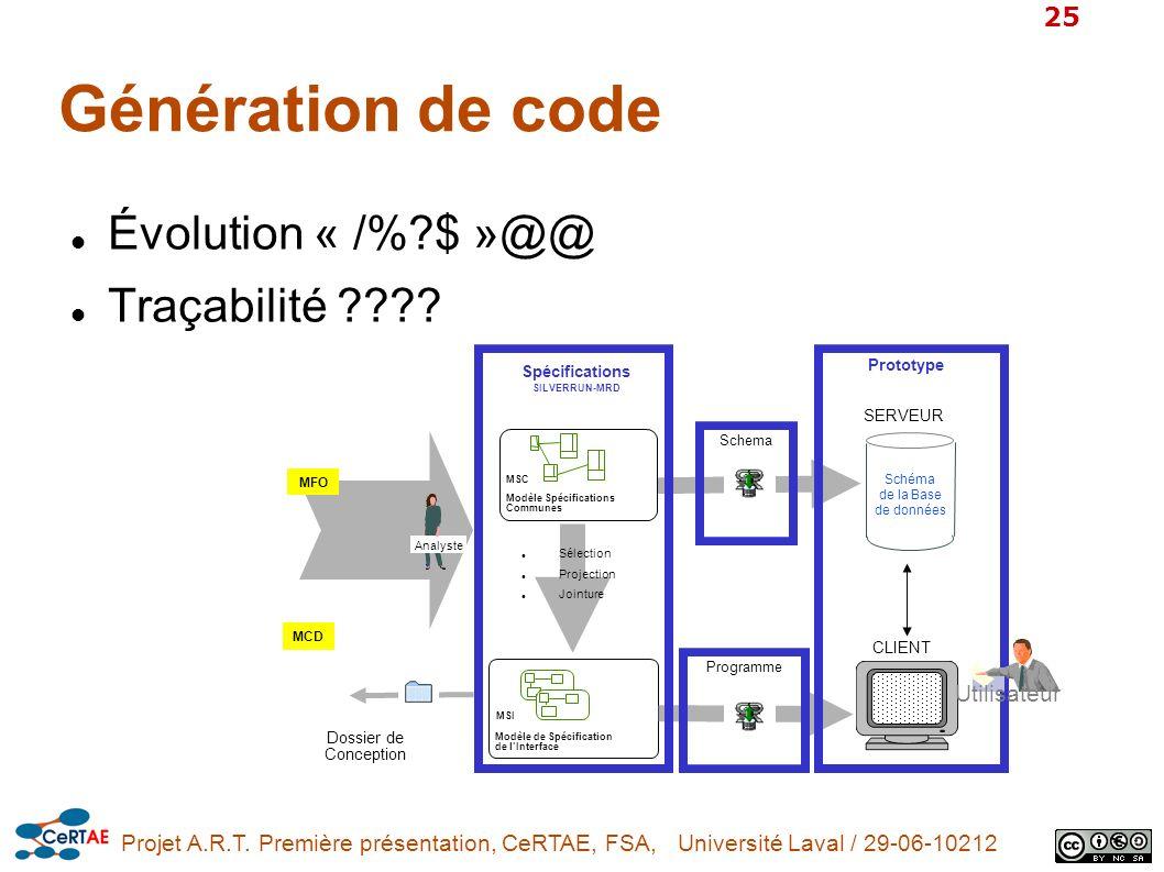 Projet A.R.T. Première présentation, CeRTAE, FSA, Université Laval / 29-06-10212 25 Génération de code Évolution « /%?$ »@@ Traçabilité ???? Schéma de