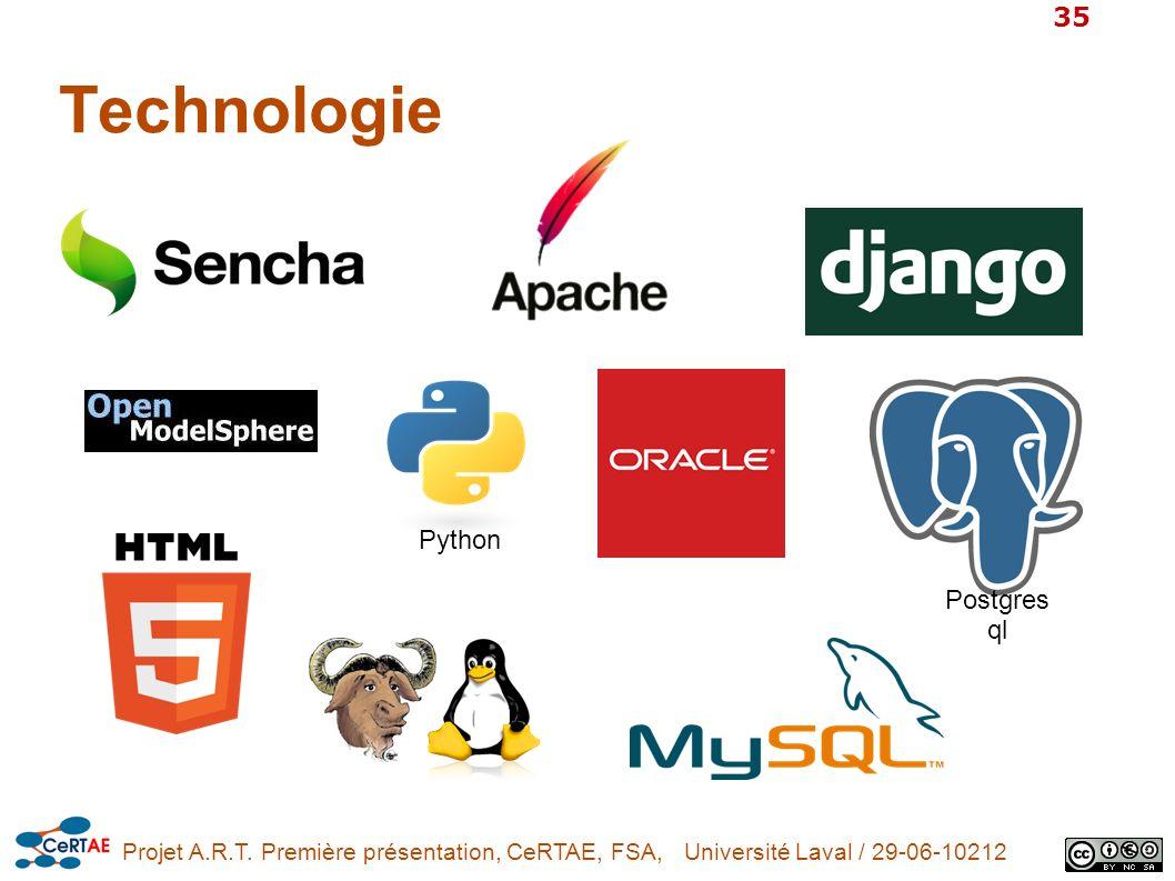 Projet A.R.T. Première présentation, CeRTAE, FSA, Université Laval / 29-06-10212 35 Technologie Python Postgres ql
