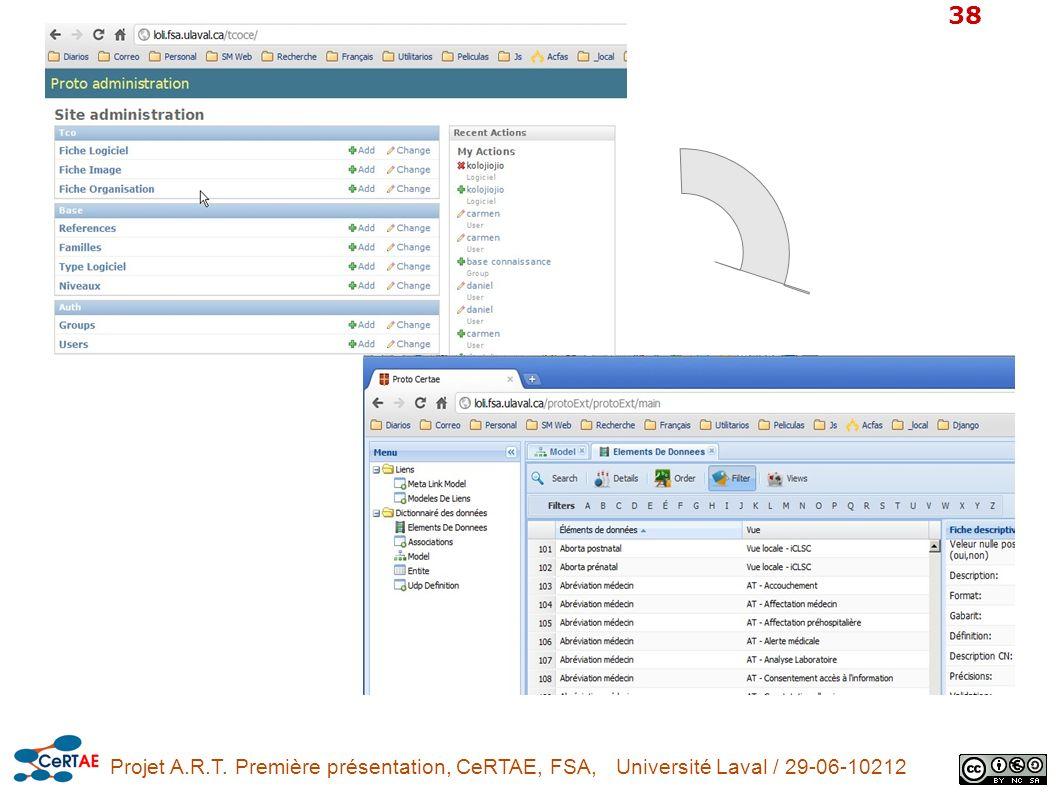 Projet A.R.T. Première présentation, CeRTAE, FSA, Université Laval / 29-06-10212 38