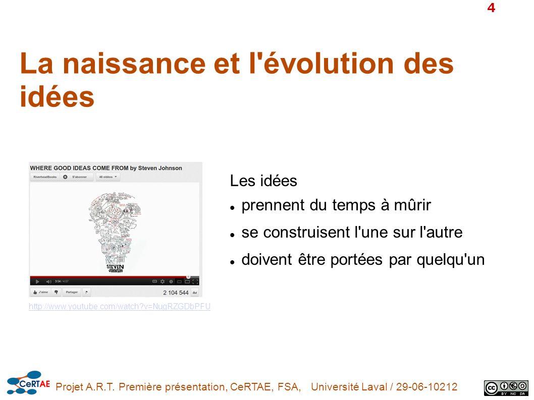 Projet A.R.T. Première présentation, CeRTAE, FSA, Université Laval / 29-06-10212 4 http://www.youtube.com/watch?v=NugRZGDbPFU Les idées prennent du te
