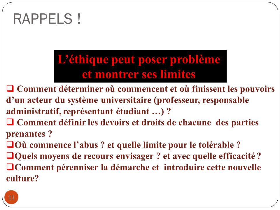 RAPPELS ! 11 Léthique peut poser problème et montrer ses limites Comment déterminer où commencent et où finissent les pouvoirs dun acteur du système u