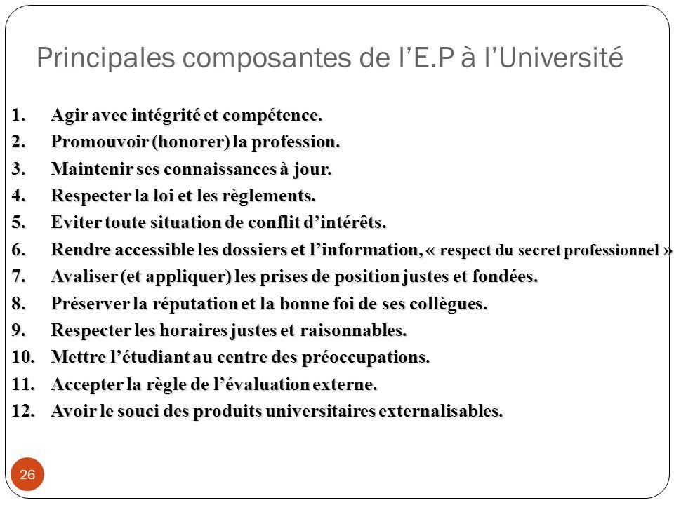 Principales composantes de lE.P à lUniversité 26 1.Agir avec intégrité et compétence. 2.Promouvoir (honorer) la profession. 3.Maintenir ses connaissan