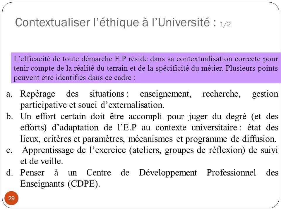 Contextualiser léthique à lUniversité : 1/2 29 Lefficacité de toute démarche E.P réside dans sa contextualisation correcte pour tenir compte de la réa