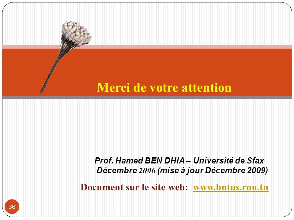 36 Prof. Hamed BEN DHIA – Université de Sfax Décembre 2006 (mise à jour Décembre 2009) Merci de votre attention Document sur le site web: www.bntus.rn