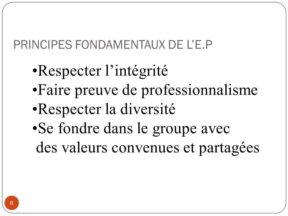 PRINCIPES FONDAMENTAUX DE LE.P 8 Respecter lintégrité Faire preuve de professionnalisme Respecter la diversité Se fondre dans le groupe avec des valeu