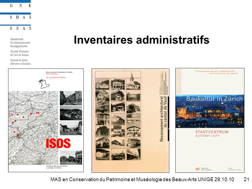Inventaires administratifs 21MAS en Conservation du Patrimoine et Muséologie des Beaux-Arts UNIGE 29.10.10