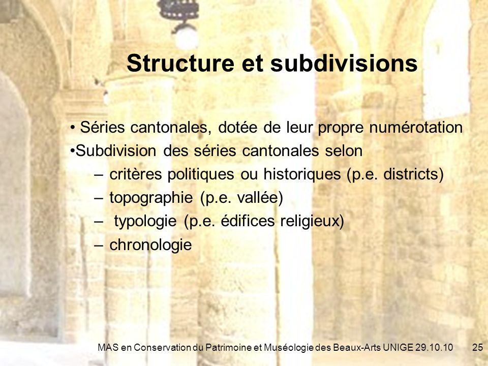 Structure et subdivisions Séries cantonales, dotée de leur propre numérotation Subdivision des séries cantonales selon –critères politiques ou historiques (p.e.