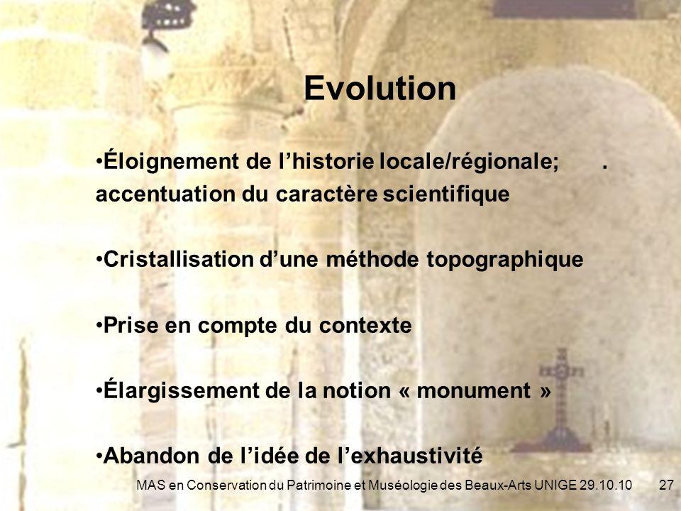 Evolution Éloignement de lhistorie locale/régionale;.