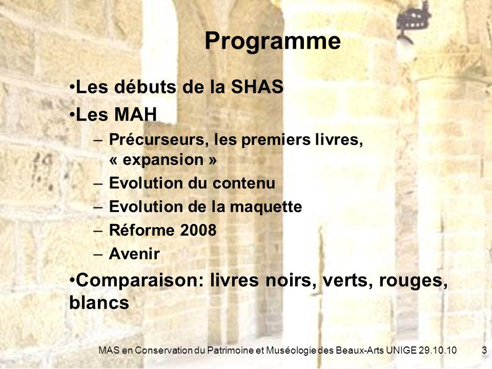 Etat 2010 14MAS en Conservation du Patrimoine et Muséologie des Beaux-Arts UNIGE 29.10.10