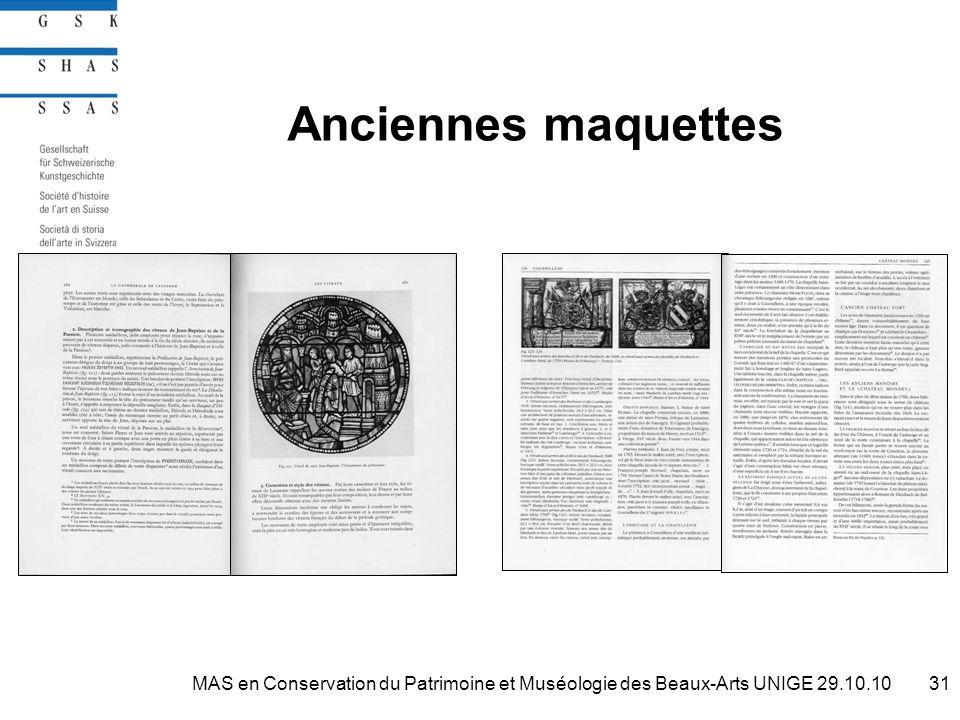 Anciennes maquettes 31MAS en Conservation du Patrimoine et Muséologie des Beaux-Arts UNIGE 29.10.10