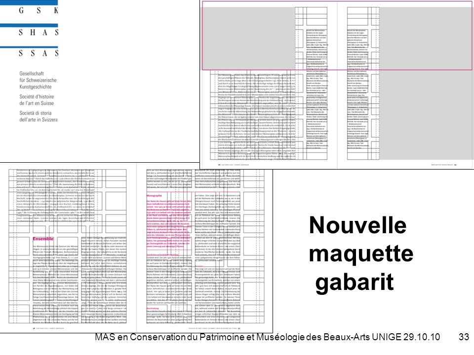 Nouvelle maquette gabarit 33MAS en Conservation du Patrimoine et Muséologie des Beaux-Arts UNIGE 29.10.10