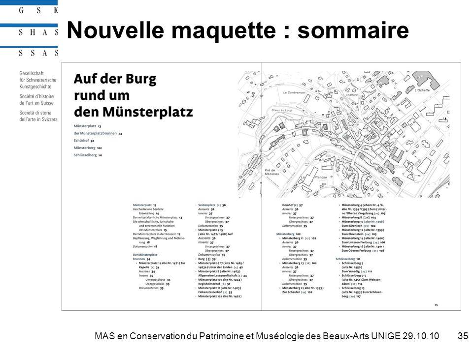 Nouvelle maquette : sommaire 35MAS en Conservation du Patrimoine et Muséologie des Beaux-Arts UNIGE 29.10.10