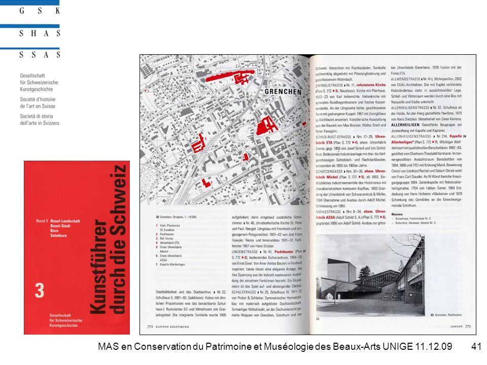 41MAS en Conservation du Patrimoine et Muséologie des Beaux-Arts UNIGE 11.12.09