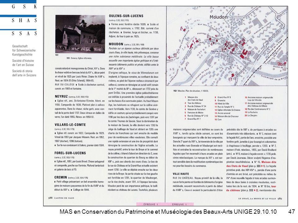 47MAS en Conservation du Patrimoine et Muséologie des Beaux-Arts UNIGE 29.10.10